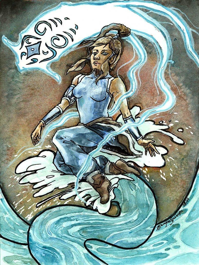 avatar korra raava watercolour painting