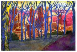 montreal from mont royal watercolour painting
