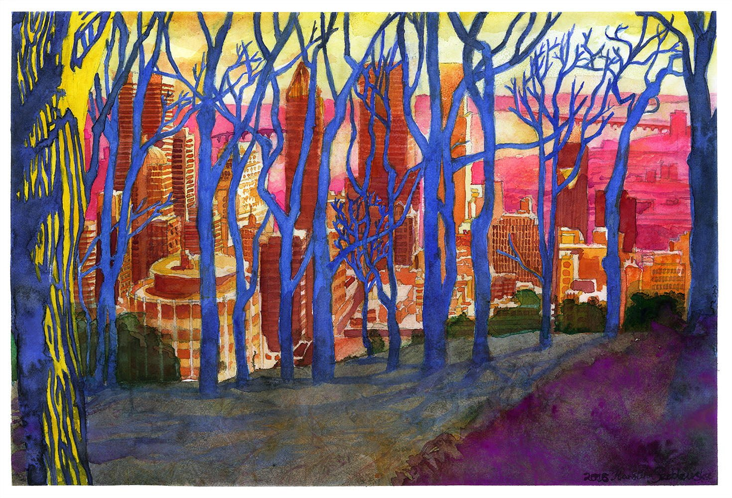 Print: Montreal from Mont Royal Through Winter Trees