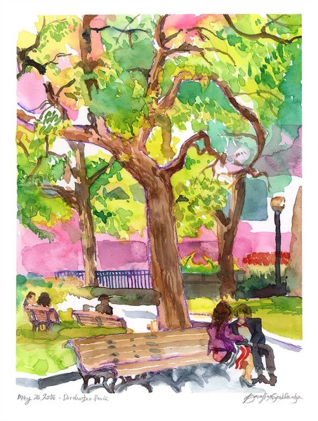 dorchester park montreal watercolour painting