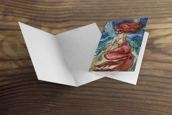 greeting card or note card featuring watercolor mermaid fairy by sea, blank card interior