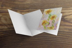 greeting card or note card featuring watercolor of sunflowers, blank card interior