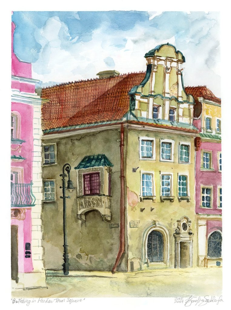 Poznań town square watercolour painting