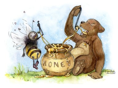Bear and Bee Eating Honey Together
