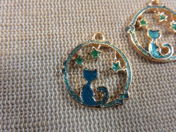 Pendentifs chat étoiles émaillé bleu paillette 21mm - lot de 2