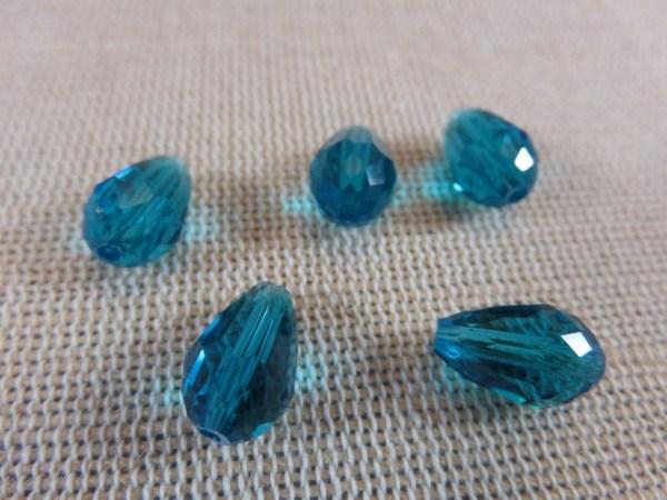 Perles goutte bleu facetté 12mmx8mm briolette - lot de 10
