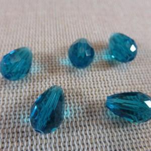 Perles goutte bleu facetté 12mmx8mm briolette – lot de 10