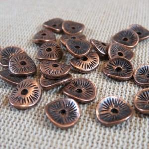 Perles rondelle cuivre ondulé 10mm en métal – lot de 20