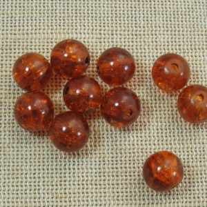 Perles marron verre craquelé 10mm ronde – lot de 30