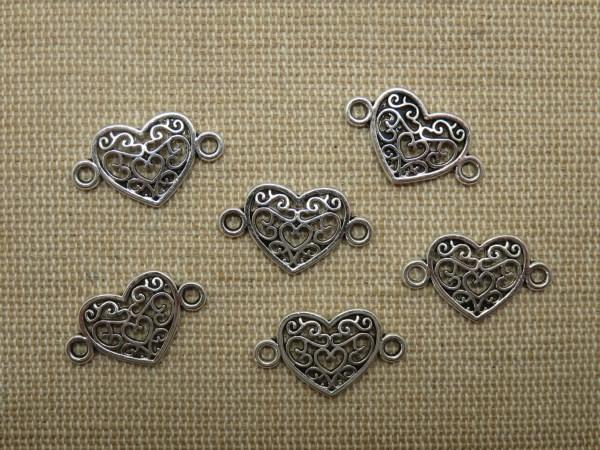 Breloques cœur filigrané arabesque pendentif connecteur argenté - lot de 6