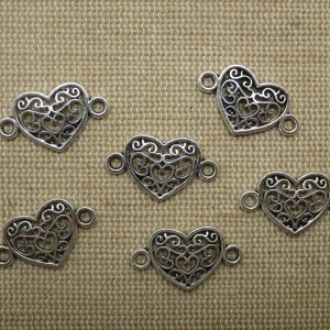 Breloques cœur filigrané arabesque pendentif connecteur argenté – lot de 6