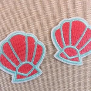 Patch coquillage thermocollant écusson coquille textile – lot de 2