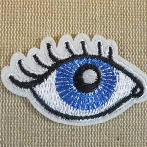 Patch œil bleu et écusson clin d'œil thermocollant