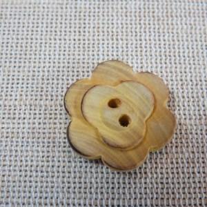 Boutons fleur en bois 22mm naturelle – lot de 2