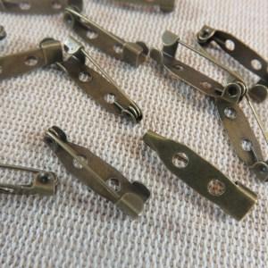 Supports broche épingle bronze 20mm x 5mm – lot de 12
