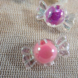 Perles bonbon multicolore acrylique 22mm – lot de 10