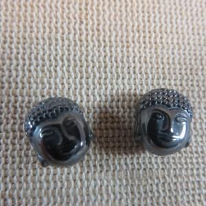 Perles tête de Bouddha noir en Hématite 10mm – lot de 2