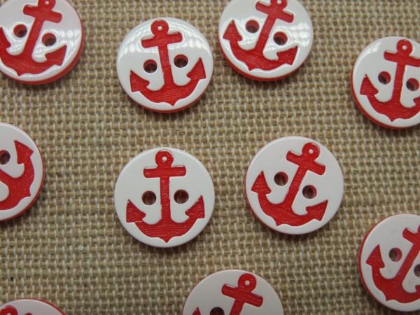 Boutons petit marin ancre rouge 13mm layette bébé - lot de 10