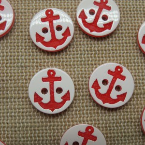 Boutons petit marin ancre rouge 13mm layette bébé – lot de 10