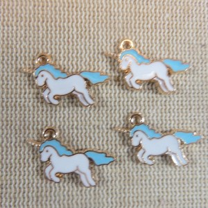 Pendentifs Licorne bleu émaillé – lot de 4 breloques kawaii