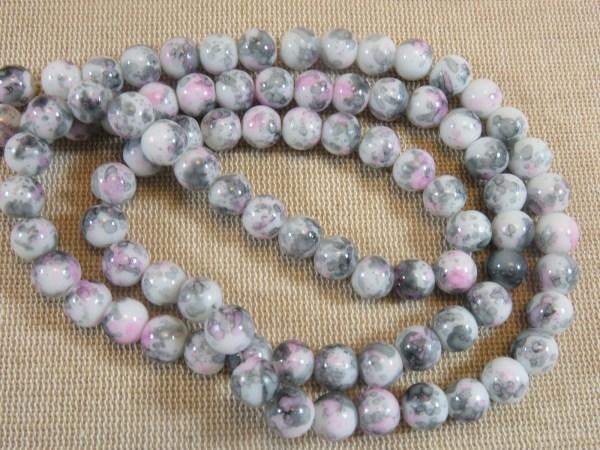 Perles tacheté fleuri rose gris 8mm ronde - lot de 20 billes de verre
