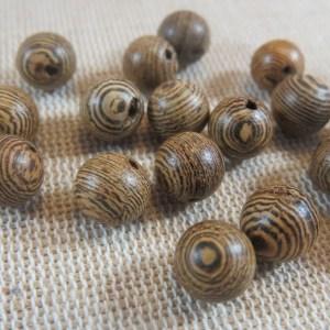 Perles en bois nervuré 8mm marron – lot de 15