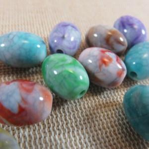 Perles ovale acrylique pierre fissuré 14mmx10mm – lot de 10