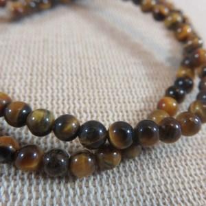 Perles œil de tigre 4mm ronde pierre de gemme – lot de 10