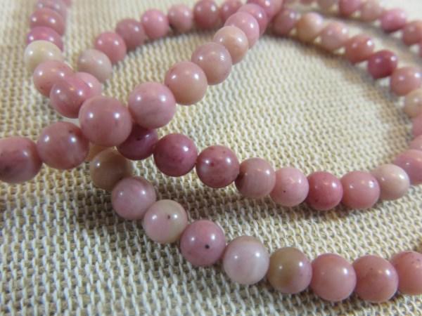 Perles Rhodonite 4mm ronde pierre de gemme - lot de 10