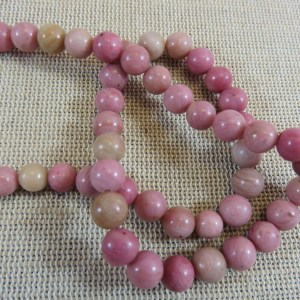 Perles Rhodonite 6mm ronde pierre de gemme - lot de 10