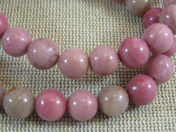 Perles Rhodonite 8mm ronde pierre de gemme - lot de 10