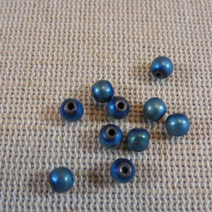 Perles hématite vert-bleu 4mm ronde – lot de 20