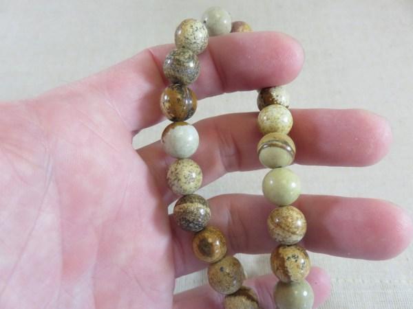 Perles Jaspe 10mm marron crème ronde - lot de 10 pierre gemme
