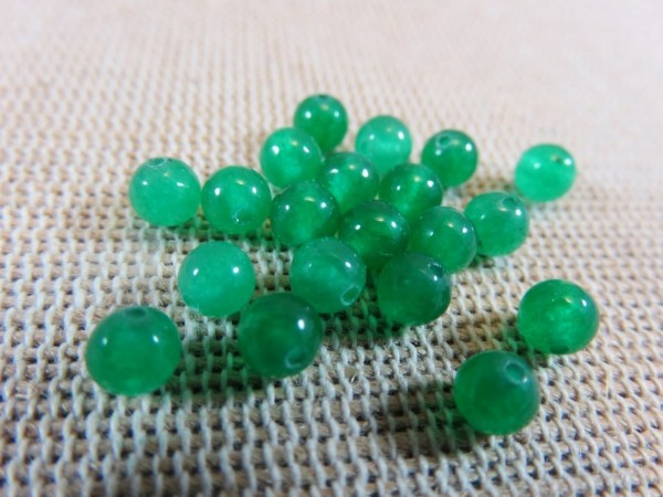 Perles jade 4mm verte ronde - lot de 10 pierre de gemme