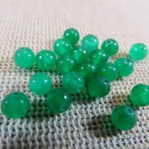 Perles jade 4mm verte ronde – lot de 10 pierre de gemme