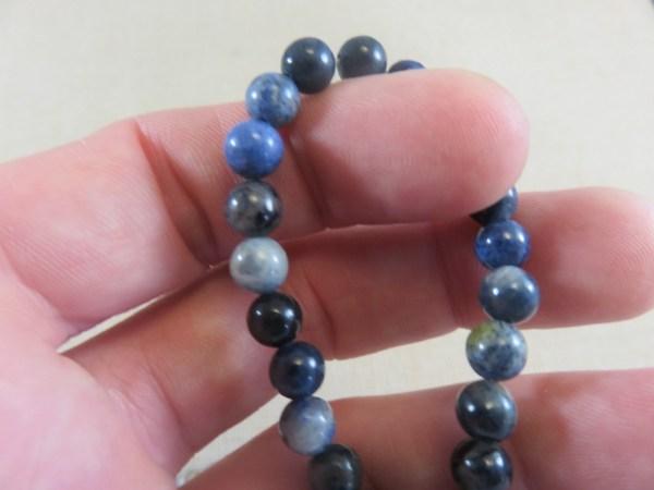 Perles Jaspe bleu 6mm ronde - lot de 10 pierre de gemme