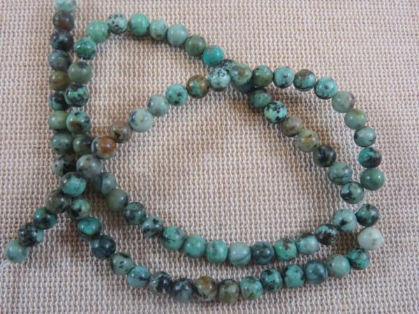 Perles Turquoise Africaine 4mm pierre de gemme - lot de 10