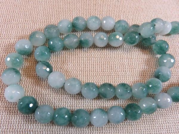 Perles calcédoine 8mm facetté pierre de gemme dégradé vert - lot de 10