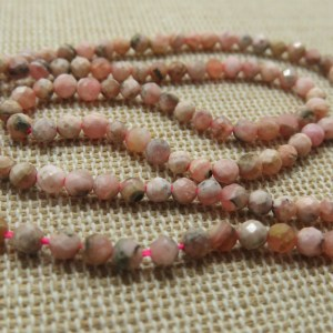 Perles Rhodochrosite 3mm facetté – lot de 20 Pierre de gemme