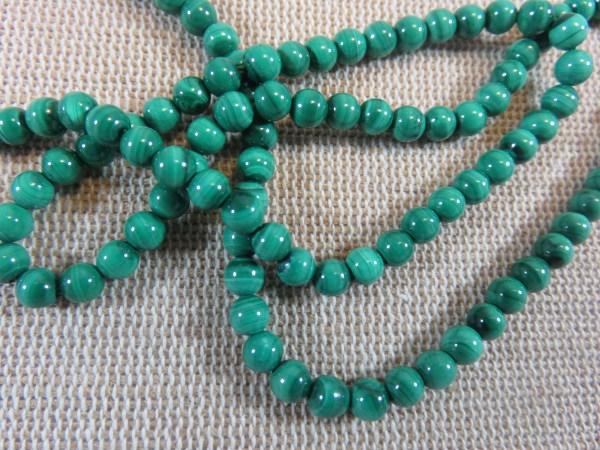 Perles Malachite AA 4mm pierre de gemme - lot de 10