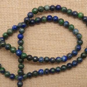Perles Phoenix 4mm lapis lazuli malachite pierre de gemme – lot de 10