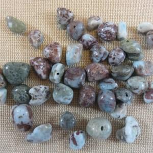 Perles Larimar chips pierre de gemme irrégulière – lot de 10