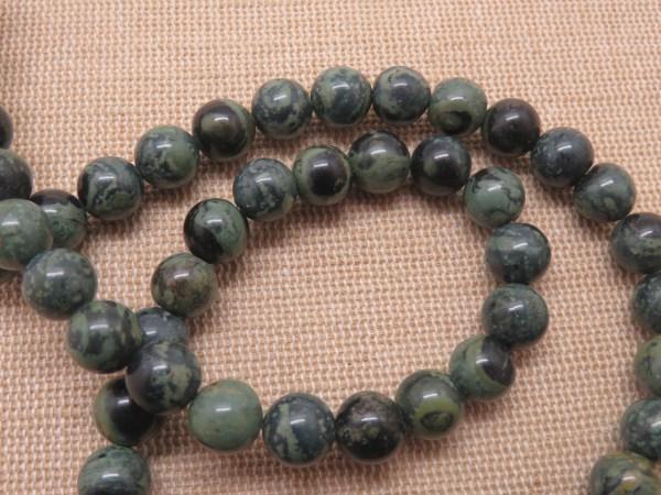 Perles Jaspe Kambaba 8mm pierre de gemme - lot de 10