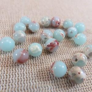 Perles Jaspe 6mm peau de serpent bleu ronde – lot de 10 perles de gemme