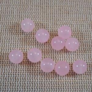 Perles agate rose 6mm pierre de gemme – lot de 10