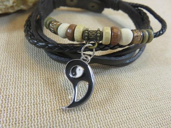 Bracelet amitié Yin Yang cuir et perles - bijoux de couple Femme et Homme