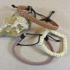 Bracelets bohème cordon cuir et perles – lot de 3 bijoux femme