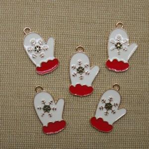 Pendentifs moufle de Noël métal émaillé rouge blanc - lot de 5