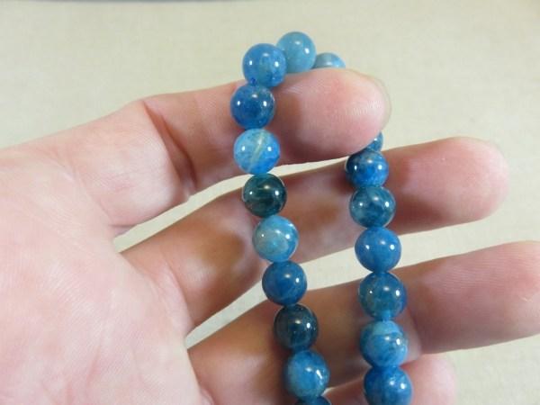 Perles Apatite 8mm ronde pierre de gemme - lot de 10