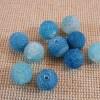 Perles Agate 8mm bleu givré ronde - lot de 10 Pierre de gemme
